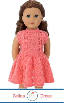 Selina Dress for 18 inch dolls. Doll Clothes Knitting Pattern.