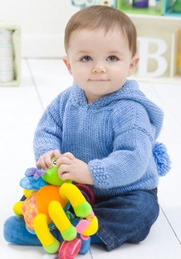 Playtime Hoodie in Red Heart Soft Baby Steps Solids - LW2232