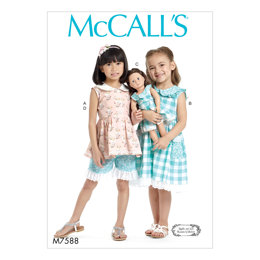 McCall's Children's/Girls' Peter Pan Collar Button-Front Top and Dress, Shorts, and Doll Dress M7588 - Sewing Pattern