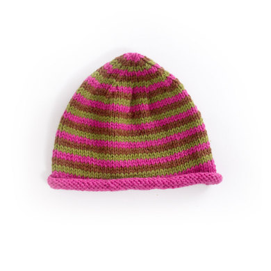 Narrow Striped Cap in Lion Brand Wool-Ease - 70055AD