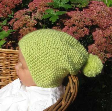 Baby Moss Stitch Bobble Slouch Hat Knitting pattern by
