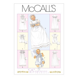 McCall's Infants' Christening Gown, Rompers With Snap Crotch In 2 Lengths and Bonnets M6221 - Sewing Pattern