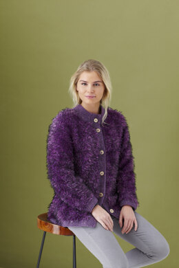 Ladies Fur Jacket, Jacket with Fur Front & Collar, and Headband in King Cole Fashion Aran and Luxury Fur in King Cole - 5445 - Leaflet