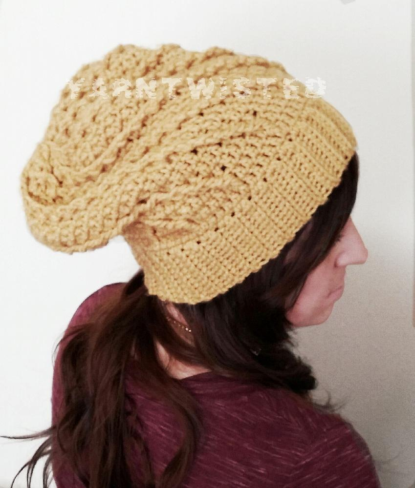 Sunny Spiral Cabled Slouchy Hat Crochet Pattern By Yarntwisted