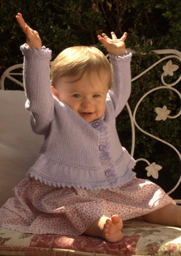 Contiguous Baby Cardigan with Peplum in Plymouth Yarn Dandelion - 2502