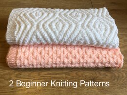 2 x Easy Baby Blankets - Cosy Weaving & Hidden Crosses