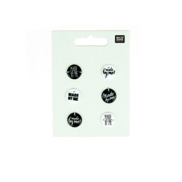 Rico Buttons With Font - Black and White