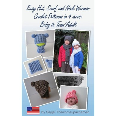 Easy Hat Scarf And Neck Warmer Crochet Patterns In 4 Sizes Baby To