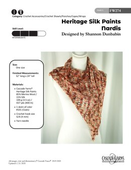 Nardis in Cascade Yarns Heritage Silk Paints - FW274 - Downloadable PDF