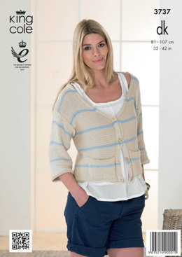 Womens' Cardigan and Sweater in King Cole Cottonsoft DK - 3737