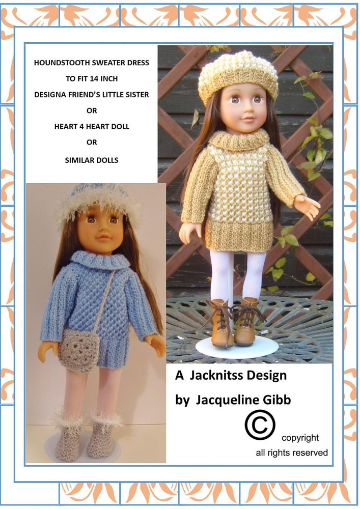 lc07 14 inch doll houndstooth sweater dress knitting pattern by