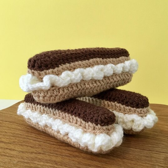 crocheted chocolate eclair