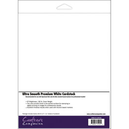 "Crafter's Companion Spectrum Noir Ultra Smooth Premium Cardstock 8.5""X11"" 20/Pkg - White"