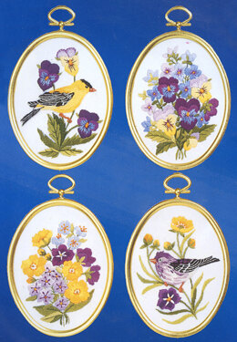 Janlynn Wildflowers and Finches, Set of 4 Embroidery Kit - 8 x 11 cm