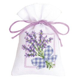 Vervaco Lavender Sprigs with Ribbon Bow Potpourri Bag Cross Stitch Kit