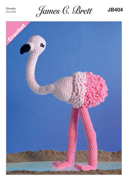 Flo the Flamingo Toy in James C. Brett Flutterby Chunky - JB404 - Leaflet