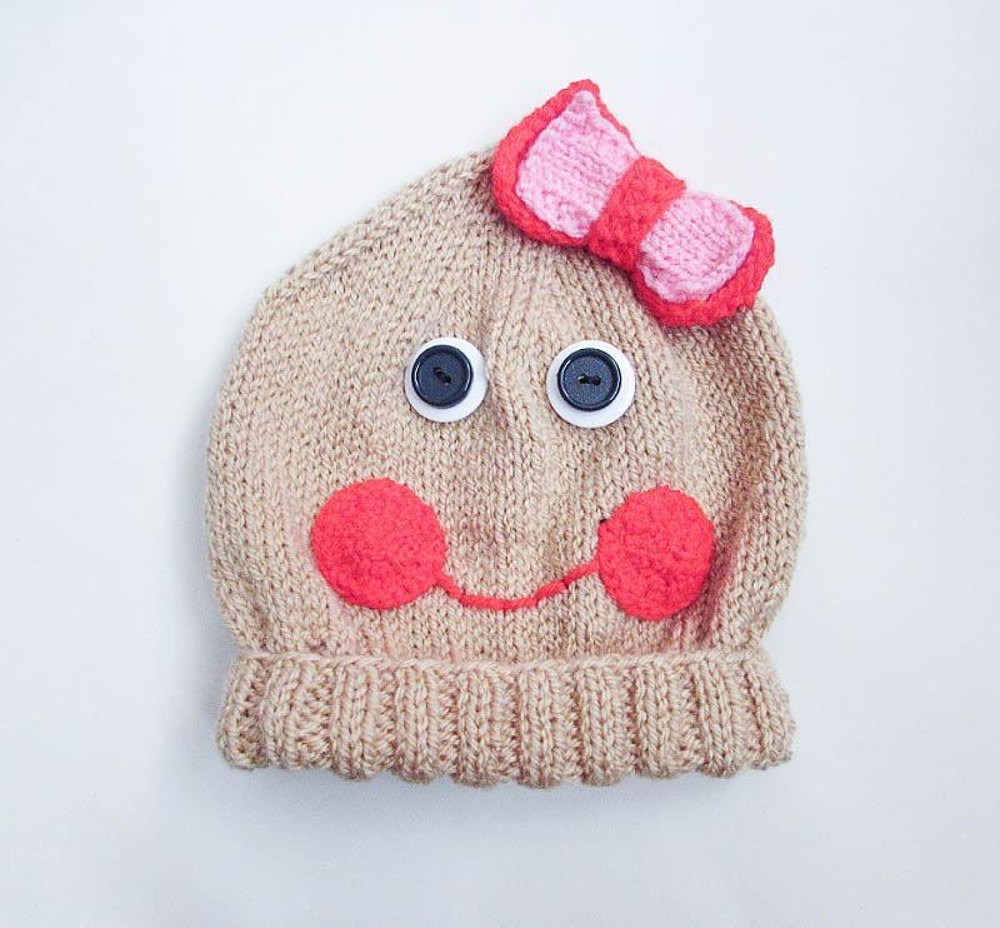Gingerbread Blanket Knitting Pattern : Christmas Gingerbread Character Baby Beanie Hat Knitting pattern by Wistfully...