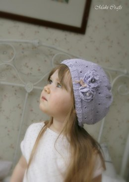 Summer lace hat Mia with crocheted flower