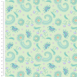 Craft Cotton Company Elegant Peacock - Flowers Lime