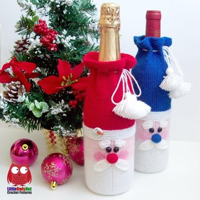 152 Santa Bottle Covers For Wine And Champagne Knitting Pattern By
