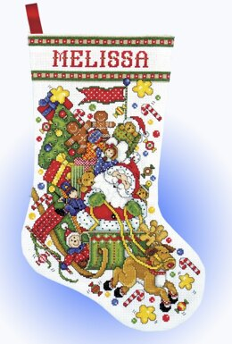 Design Works Santa Sleigh Stocking Cross Stitch Kit