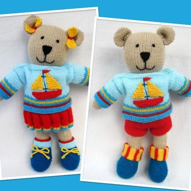 Tilda and Tommy-Ted - knitted bear dolls