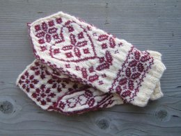 Floral Heart Mittens