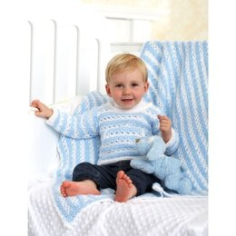 Striped Pullover and Blanket in Bernat Baby Coordinates Solids