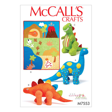 McCall's Dinosaur Plush Toys and Appliquéd Quilt M7553 - Paper Pattern Size One Size Only