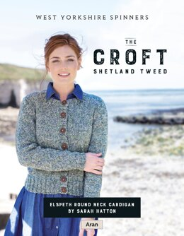 Elspeth Round neck cardigan in West Yorkshire Spinners The Croft Shetland Tweed - DBP0056 - Downloadable PDF