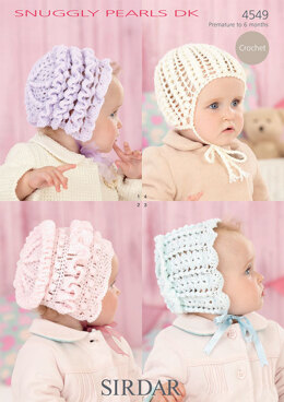 Baby's Bonnets and Helmet in Sirdar Snuggly Pearls DK - 4549 - Downloadable PDF