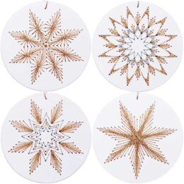 Rico Christmas Bauble Tree Decoration Embroidery Kit - White (8 pcs) - 10x10