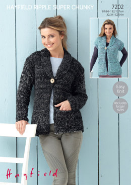 Woman's Jacket and Waiscoat in Hayfield Ripple Super Chunky - 7202
