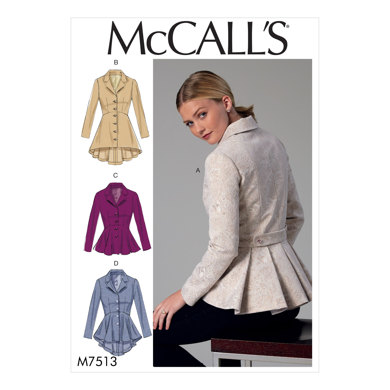 McCall's Misses' Notch-Collar, Peplum Jackets M7513 - Sewing Pattern