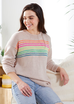 Neon Stripes Pullover in Premier Yarns Anti-Pilling Everyday DK - Downloadable PDF