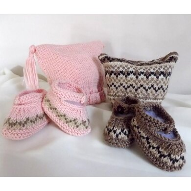 Baby Hat and Booties set, with or without Fair Isle pattern - P016
