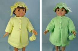 Spring Coat, Hat, Matching Purse, Knitting Patterns fit American Girl and other 18-Inch Dolls