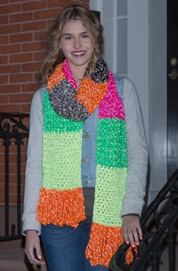 Shine On Scarf in Red Heart Reflective - LW4219
