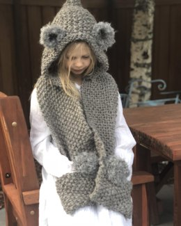 Knitted coala hooded scarf