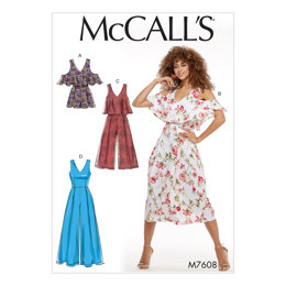 McCall's Misses' Fitted, Lined Sleeveless Romper and Jumpsuits M7608 - Sewing Pattern