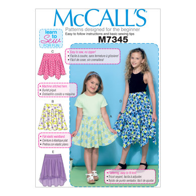 McCall's Children's/Girls' Straight, Handkerchief, or High-Low Hem Skirts M7345 - Sewing Pattern