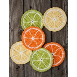 Citrus Slice Coasters in Lily Sugar 'n Cream Solids - Downloadable PDF
