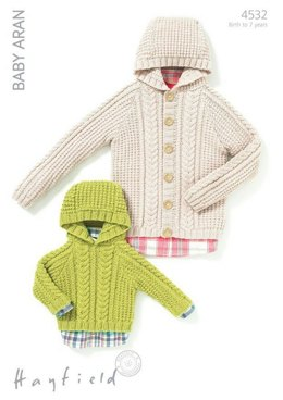 Hooded Sweater and Jacket in Hayfield Baby Aran - 4532