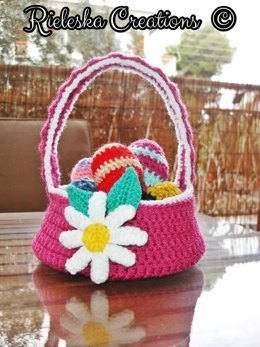 Easter flower basket and coloured easter eggs