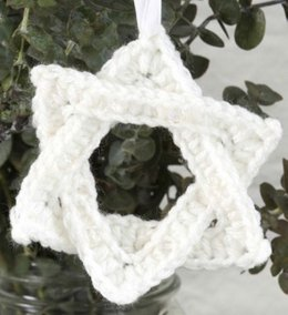 White Star of David Ornament in Red Heart Super Saver Economy Solids - LW3275