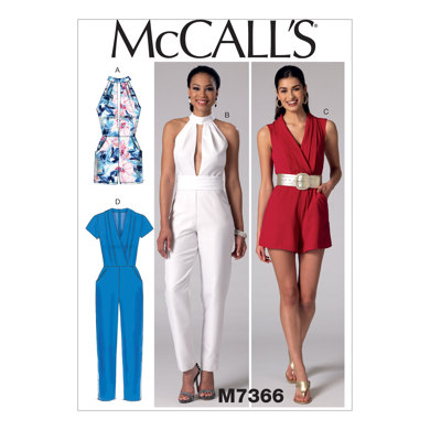 McCall's Misses' Pleated Surplice or Plunging-Neckline Rompers, Jumpsuits and Belt M7366 - Sewing Pattern