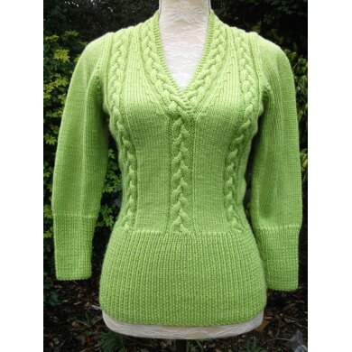 Cabled V Neck Fitted Sweater