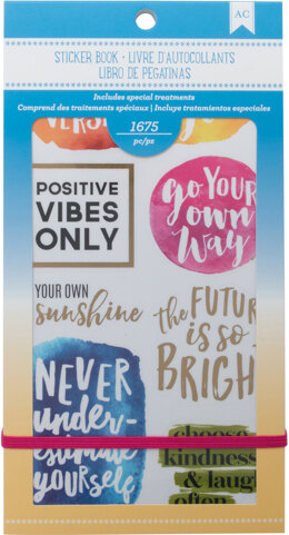 """American Crafts Planner Stickers 12-Page Book 4.75""""X9"""" - Inspirational Life"""