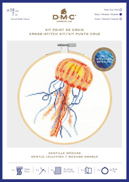 DMC Gentle Jellyfish Cross Stitch Kit (with 7in hoop)