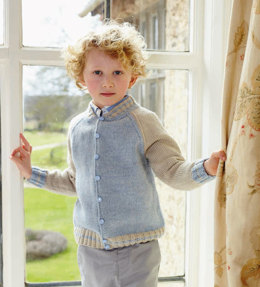 """""""College Cardigan"""" - Cardigan Knitting Pattern For Babies in Debbie Bliss Blue Faced Leicester DK - BFLDK07"""